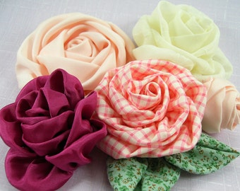 Bias Cut Roses Fabric Flower PDF Tutorial