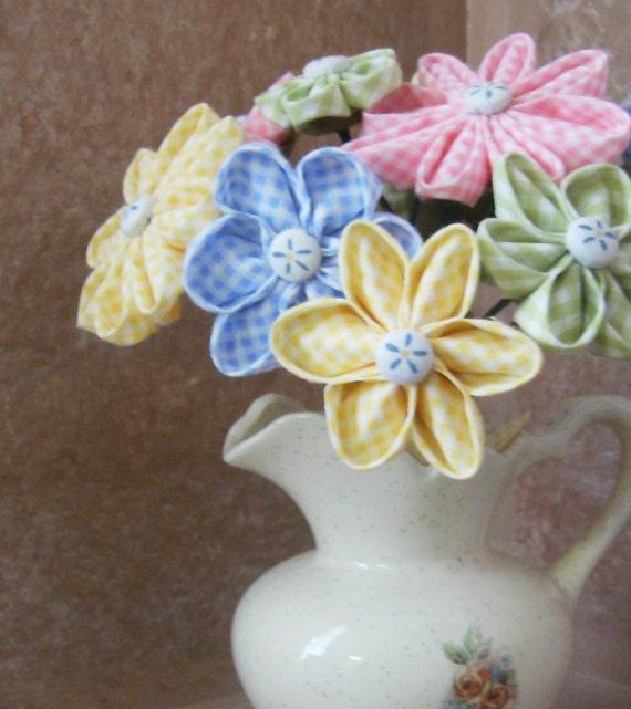 Fabric Flower Wedding Bouquet Tutorial: Items Similar To Stemmed Kanzashi Fabric Flowers PDF