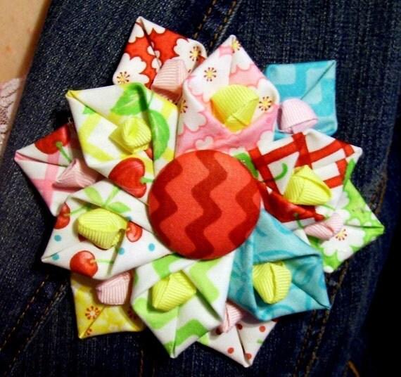 Folded Fabric Flower Pdf Tutorial 1 Easy Handmade Flowers