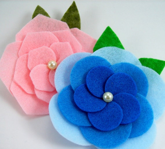 Felt Cabbage Roses PDF Tutorial .. No sewing machine required