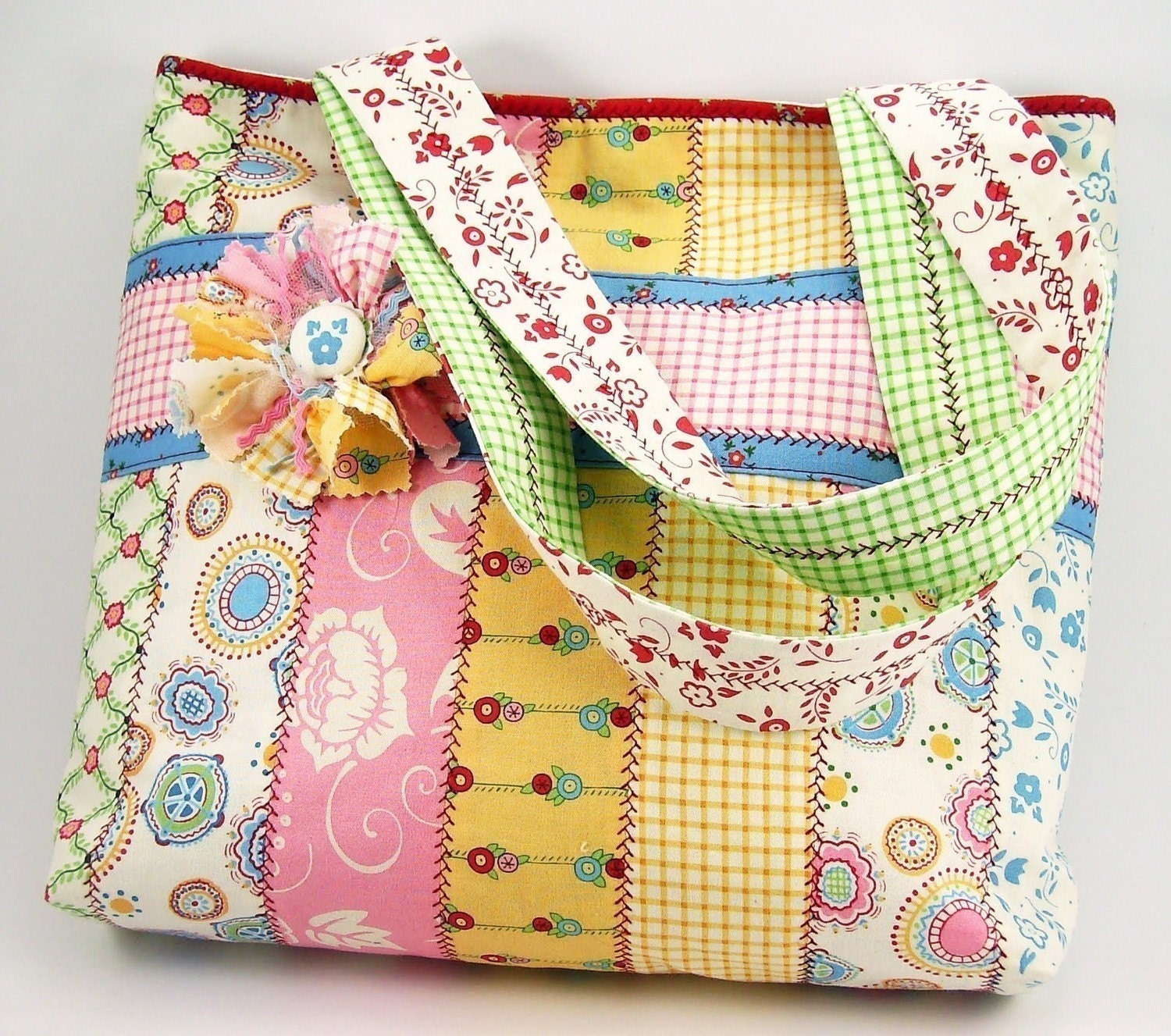 Bags And Purses Patterns : Jelly Roll Tote Bag Sewing Pattern with by SundayGirlDesigns