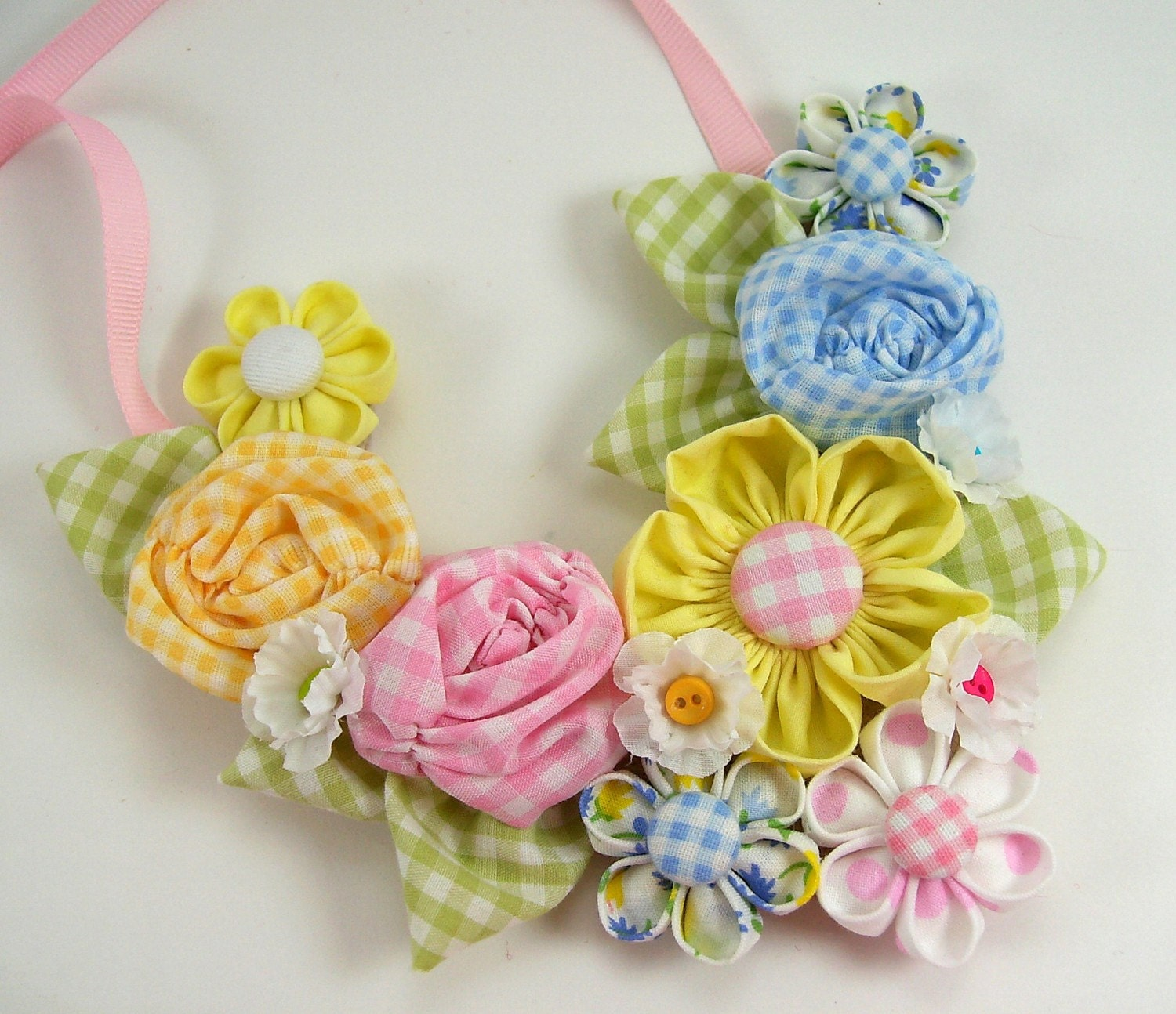 Fabric Flower Bib Necklace 2 PDF Tutorial NEW Includes