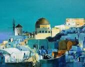 Oia Santorini Greece  - Original Oil Painting - 60.6 cm x 41.0 cm