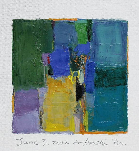 Reserved listing - June 3, 2012 - Original Abstract Oil Painting - 9x9 painting (9 x 9 cm - app. 4 x 4 inch) with 8 x 10 inch mat