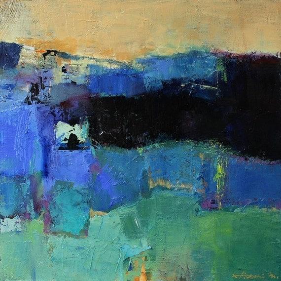 Small Box Painting 1015 - Original Oil Painting - 22.7 cm x 22.7 cm