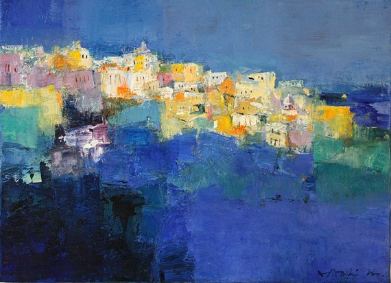 Reserved listing - Fira Santorini Greece  - Original Oil Painting - 33.3 cm x 24.2 cm