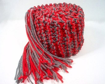 Hand Knit Scarf College Ohio  - Scarlet Red and Grey Gray Team Gear Alumni Pride