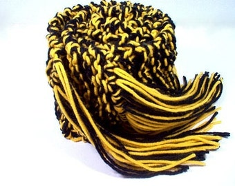 Hand Knit College Scarf Black and Sunflower Gold Yellow Alumni Gear Team Scarves Football Warm