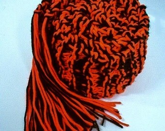 Hand Knit College Scarf Oklahoma Oregon  - Orange and Black