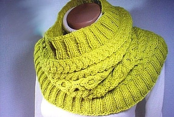 FINAL CLEARANCE Hand knit cowl Hugs and Kisses  Lemongrass Wool  was 75.00 Ready to Ship