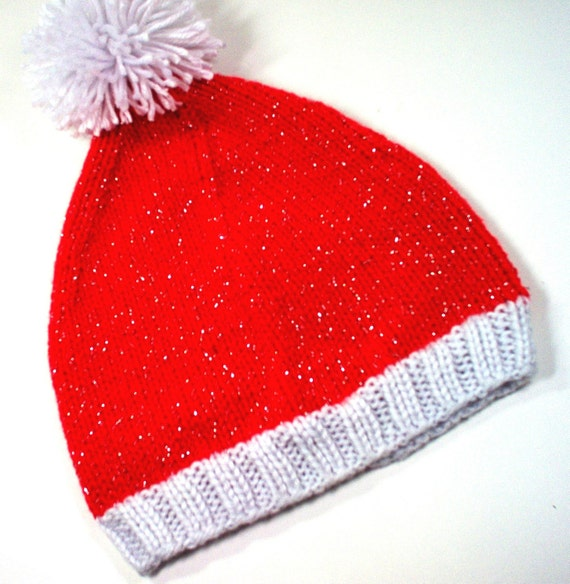 SALE Santa Hat Christmas Baby Infant 6m 9m 12m 18m 24 m 2 years month Red and White Sparkle Hand Knit Handmade  - Ready to Ship