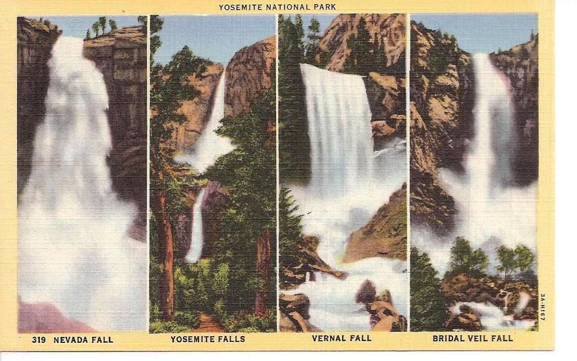 Vintage Postcard Yosemite National Park Nevada Falls