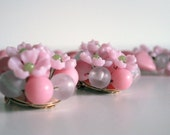Vintage Pink Posie . . . Plastic Necklace and Earrings