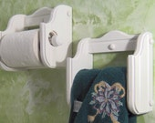 White toilet paper and hand towel holders wood