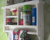 White spice rack ,plate,towel bar,wall shelf,wood H