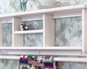 "White 36"" Curio Shelf withTowel or Quilt Bar solid pine wood cd,s books made USA"
