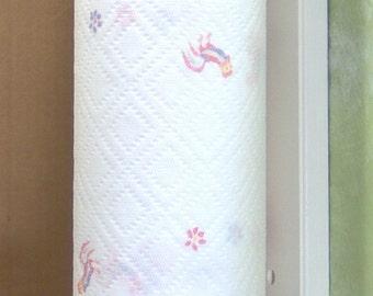 White-vertical mount wood paper towel holder