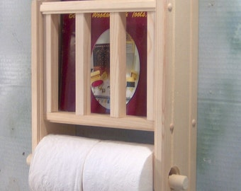 Unfinished Magazine Rack with Toilet Paper Holder
