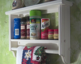 White spice rack ,plate,towel bar,wall shelf,wood