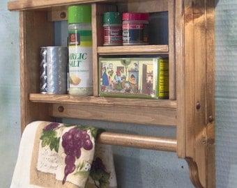 Early American spice rack ,plate,towel bar,wall shelf,wood H