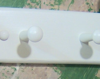 """White 8""""  double peg robe or hand towel  for bathroom or bedroom"""
