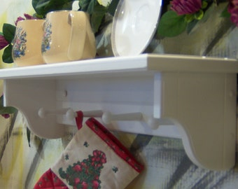 """Choose color 26"""" wooden shelf for knik knack, plates and pictures with pegsoriginal design USA"""