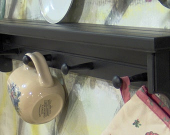 "26"" black wooden shelf for knik knack, plates  pegs made USA"