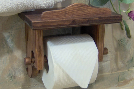 Items Similar To Red Mahagony Toilet Holder: wood toilet paper holders