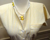 Vintage 1960's Yellow and White Four Strand Made In Japan Beaded Choker Necklace