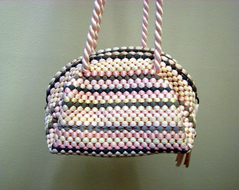 Vintage 1940's Woven Nylon  Pink Gray White and Yellow Petite Pouch Handbag
