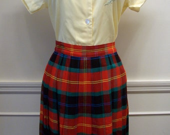 Vintage 80s Plaid Pleated Bright Colors Skirt by Rafaella Size 6