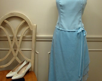 Vintage 70s 80s Sky Blue Formal Dress Size 10