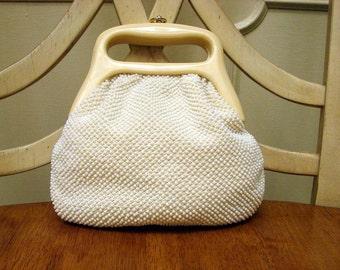 Vintage 1960s Petite White Beaded Handbag by LaRegale LTD