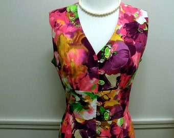 Vintage 60s 70s Tropical Flower Novelty Maxi Dress Resort Wear