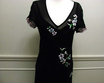 Vintage 80s 2 Piece Black Nylon Dress with Embroidered Flowers with Beads by Casadei Size Med