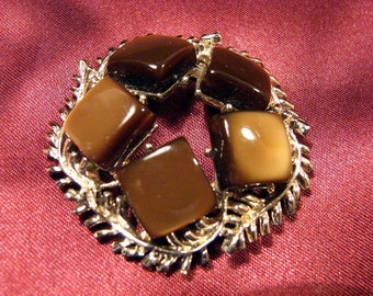 Vintage Gold Tone Coro Circle Brooch with Tiger Eye Looking Squares