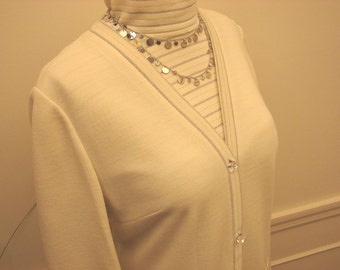 Vintage 1960's Three Piece Cream and Silver Knit Suit