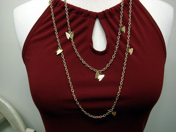 Vintage 70's Sarah Coventry Gold Tone 50 Inch Chain Necklace with Butterfly Charms