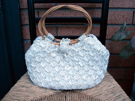 Vintage 60s 70s White Raffia Straw Handle Summer Bag By Ritter
