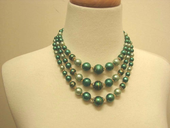 Vintage 50s 60s Triple Strand Choker Necklace Greens Decorated Beads Marked JAPAN
