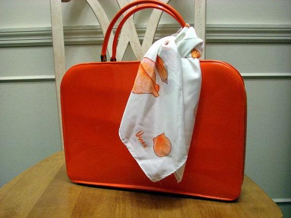 Vintage 50s 60s ORANGE Patent TOLIN Handbag Briefcase Style