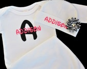 Personalized Baby Girl Gown and Beanie with Flower /  Several color options