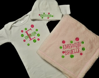 Personalized Baby Gown Hat and Blanket Set / 3 Piece Set / Polka Dots