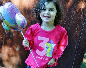 Personalized Rapunzel Birthday Ruffle Shirt / Long Sleeve