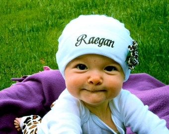 Personalized Baby Girl Beanie Hat with Flower