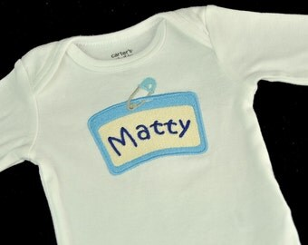 Personalized Funny Name Tag Baby Bodysuit