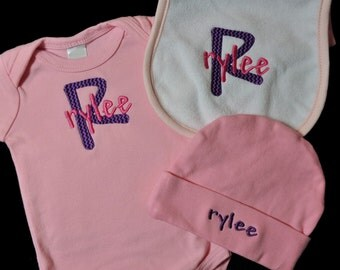 Personalized Baby Bodysuit, Beanie Cap, and Bib OR Burpcloth Combo
