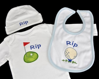 Personalized Baby Bodysuit Hat and Burpcloth (or Bib) Set with any Name and Design