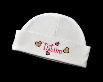 Personalized Baby Girl Heart Beanie