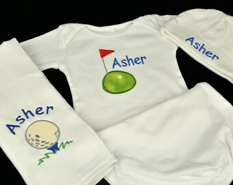 Personalized Golf Themed Baby Gown Hat and Burpcloth (OR Bib) Set / Golf Green Golf Ball